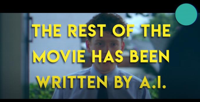 언어 생성 모델 GPT-3가 각본을 쓴 단편 영화 ′상품판매원′의 한 장면. 영화 중간에 ′나머지 부분은 AI가 썼다′는 문구가 나온다. 유튜브 캡쳐
