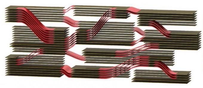 연구팀이 개발한 산화그래핀(검은색)과 카테콜아민(빨간색)의 복합체다. 기본적으로 산화그래핀의 벽돌 적층 구조를 유지하면서 중간에 불규칙한 카테콜아민 결합 구조가 섞여들었다. 이를 통해 강하면서 유연하고 전기 전도도가 높은 입체 그래핀 구조가 형성됐다. 어드밴스드 펑셔널 머티리얼스 제공