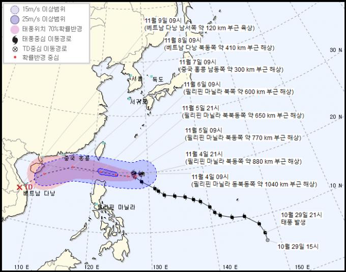 가장 최근 발생한 제20호 태풍 ′앗사니′의 예상 이동 경로. 기상청 제공