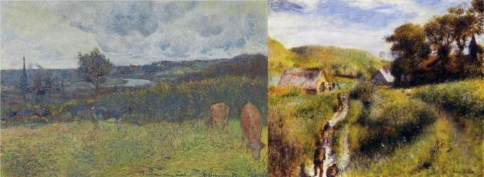 프랑스 화가 폴 고갱의 ′루앙 풍경′과 오귀스트 르누아르의 ′포도 수확′. 국내 연구진이 두 그림의 공통점을 숫자로 밝혔다.