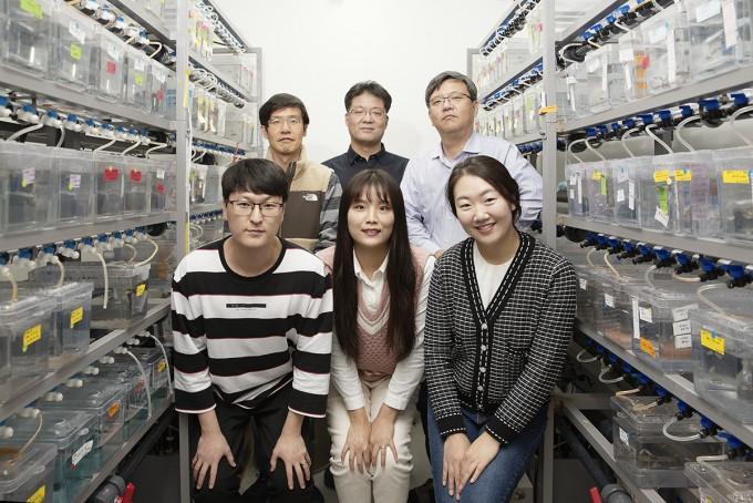 왼쪽 위부터 시계방향으로 IBS 유전체 항상성 연구단 강석현 연구위원, 이윤성 연구위원(교신저자), 명경재 단장, 강미선 연구원, 류은진 연구원, 오창규 연구원이다. IBS 제공