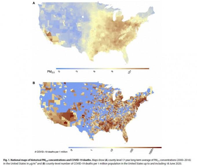 미국 3089개 카운티의 2000~2016년 17년간 미세먼지(PM2.5) 일평균농도(위)와 올해 6월18일까지 코로나19 사망자 11만6747명의 카운티별 분포. ′사이언스 어드밴시스′ 제공
