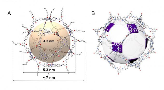 IBS 복잡계 자기조립 연구단이 만든 분자 다면체 ′분자 주령구′의 구조를 방사광가속기로 분석한 그림. 14면체인 주령구를 닮아 육각형과 사각형으로 이뤄졌다. IBS 제공