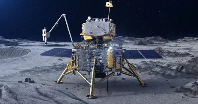 창어 5호가 달 표면에 착륙해 토양 샘플을 시추하고 있는 모습을 그린 상상도. 중국 국가항천국(CNSA) 제공