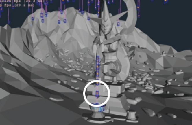 게임 개발에 사용되는 대표적인 물리 엔진인 ′하복(Havok)′의 시뮬레이션 화면. 떨어지는 물체의 움직임을 직육면체(흰 원)로 가정해 계산한다. 하복 제공