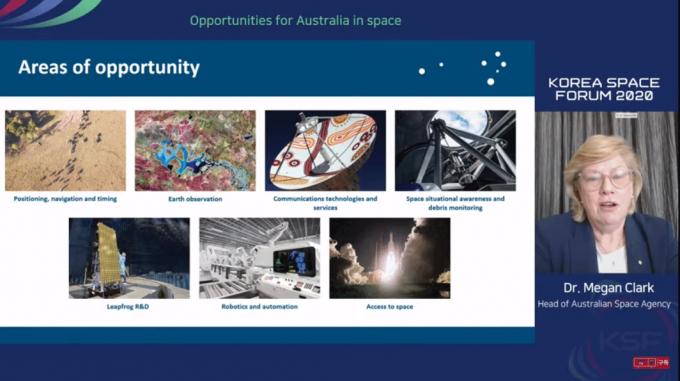 메간 클라크 호주 우주청장이 5일 서울 JW 메리어트 호텔에서 열린 ′2020 코리아스페이스 포럼′에서 '한국과 우주의 우주 개발 협력 방안과 일자리 창출을 목표로 한 호주의 우주 개발 계획'에 대해 발표하고 있다. 한국항공우주연구원 유튜브 캡쳐