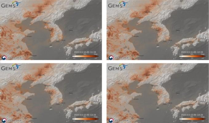 9월 9일 오전 10시45부누터 오후 2시 45분까지 4차례에 걸쳐 동아시아 지역의 이산화질소를 관측한 영상이다. 차량 이동이 많은 대도시(서울, 평양, 베이징, 심양, 오사카, 나고야), 공업지역 및 화력발전소 등에서 높은 이산화질소 농도가 관측됐다. 과학기술정보통신부 제공