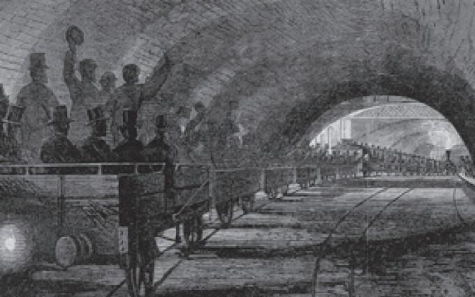 1863년 1월, 세계 최초의 지하철인 런던 메트로폴리탄선의  시범 운행을 담은 목판화. 웰컴파운데이션 제공
