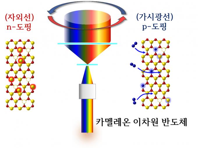 이텔루륨화몰리브덴 (MoTe2)을 빛으로 도핑하는 과정 모식도. 붉은 색이 몰리브덴, 노란색이 텔루륨, 파란색이 산소 원자다. 왼쪽은 자외선을 쬐었을 때 텔루륨이 일부 탈락하면서 잉여 전자가 발생해, n형 반도체로 변하는 과정. 오른쪽은 가시광선을 쬐면서 산소가 몰리브덴 원자를 일부 대체하는 과정이다. 이 때 소재 전체에는 양공이 더 많아지게 된다.