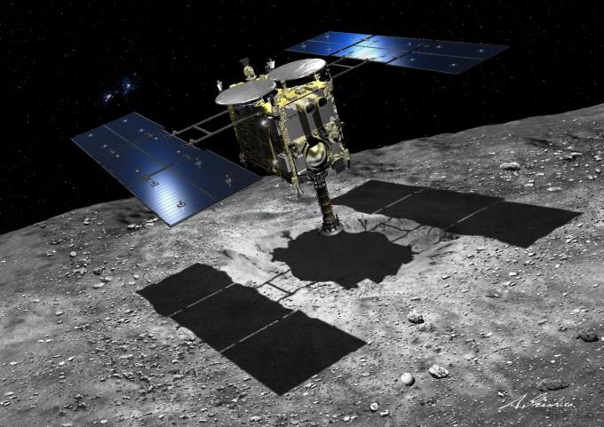 탄소질 류구에 착륙하는 소행성 탐사선 ′하야부사2′ 상상도. JAXA 제공