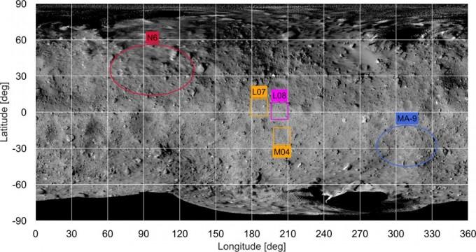 하야부사2가 처음 착륙한 장소인 L08 지역. L07, M04는 후보 착륙 장소이고, N6는 미네르바II가 착륙한 장소, MA-9은 마스코트가 착륙한 장소다. JAXA 제공