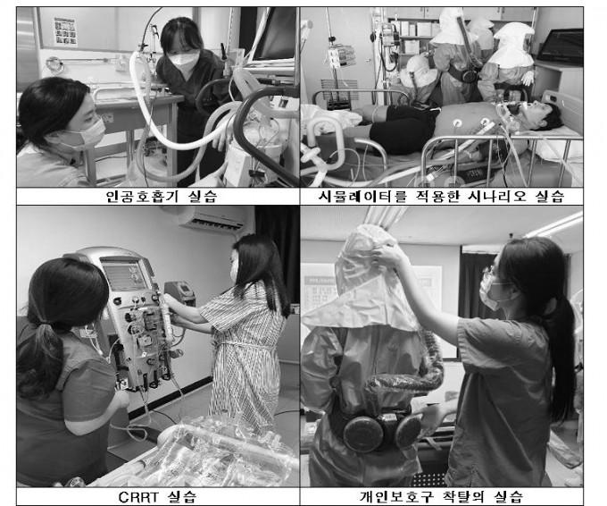 코로나19 중증환자 전담 교육을 받는 간호사들. 국립중앙의료원 제공