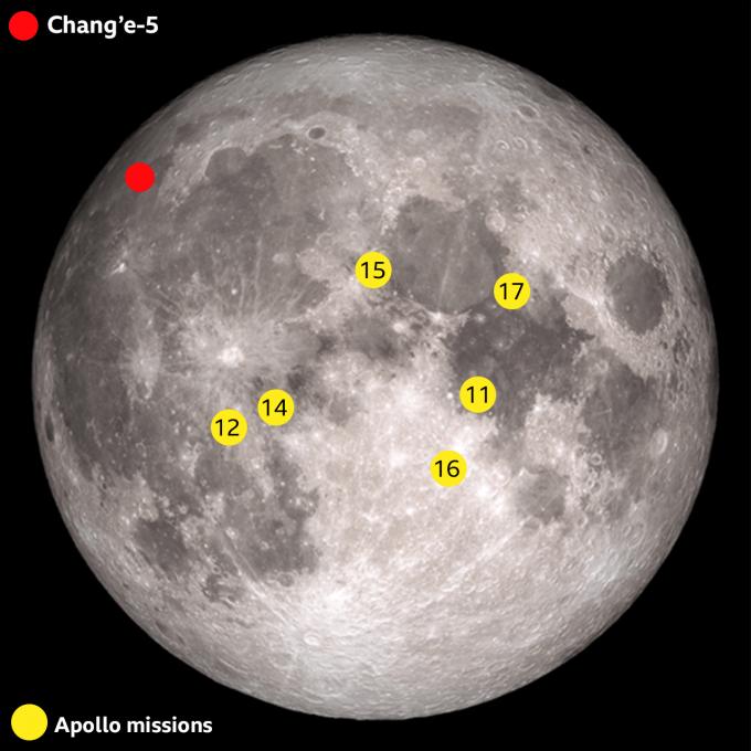 중국의 창어 5호가 착륙한 지점(빨간색). NASA/JPL 제공