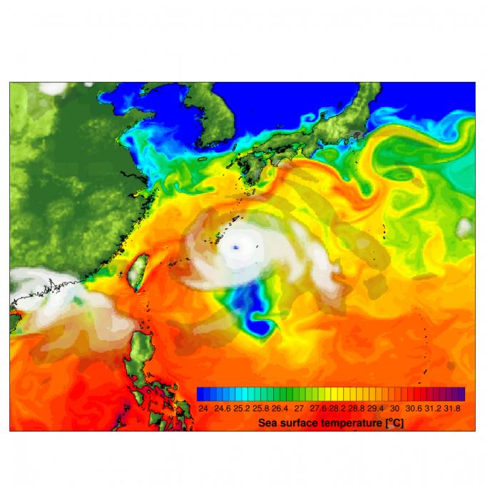 이산화탄소 농도가 지금보다 2배로 높아지면 태풍의 수는 주는 대신 강력한 태풍이 발생할 확률이 50% 늘어나는 것으로 분석됐다. 기초과학연구원(IBS) 제공