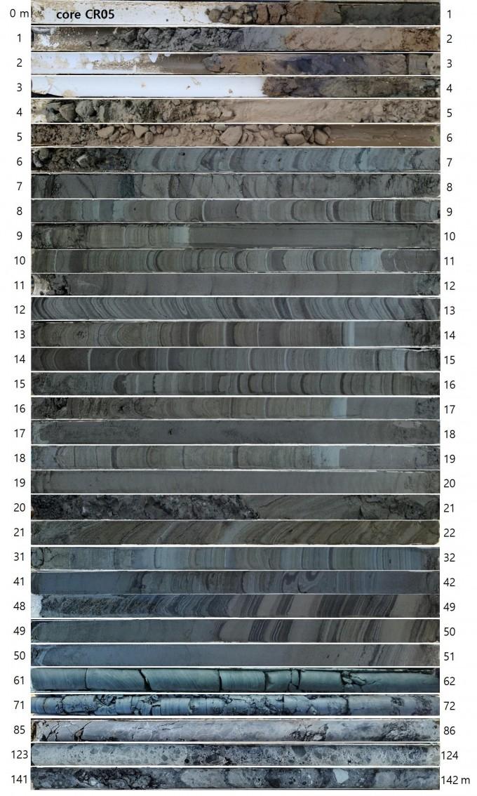 적중-초계분지에서 회수한 시추코어 단면 사진. 지질자원연구원 제공.