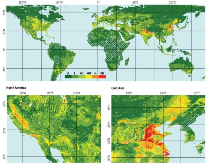 붉은 색일수록 토지 침하 가능성이 높다. 사이언스 제공