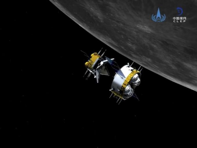 달 궤도선과 도킹한 창어 5호가 지구로 돌아온다. 중국국가항천국(CNSA) 제공