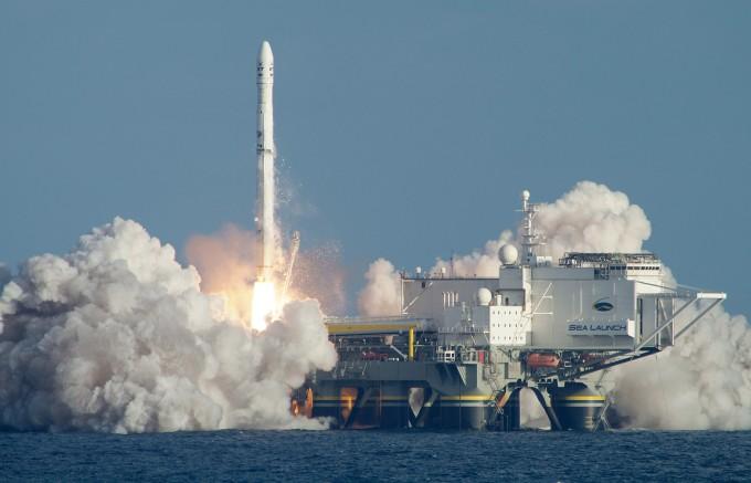 2014년 해상 발사 서비스 기업인 시론치의 마지막 발사 장면. 시론치 제공