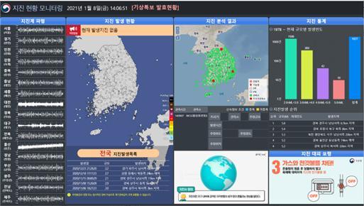 24시간 지진발생 상활 설명 유튜브. 기상청 제공
