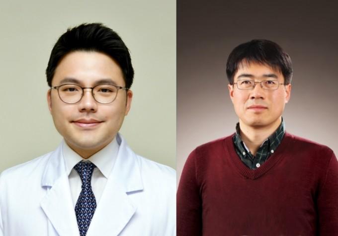 이원준(왼쪽) 한양대병원 안과 교수와 박준홍(오른쪽) 한양대 기계공학부 교수팀이 안구에 진동을 가해 안압을 측정하는 새로운 방법을 고안했다. 한양대병원 제공