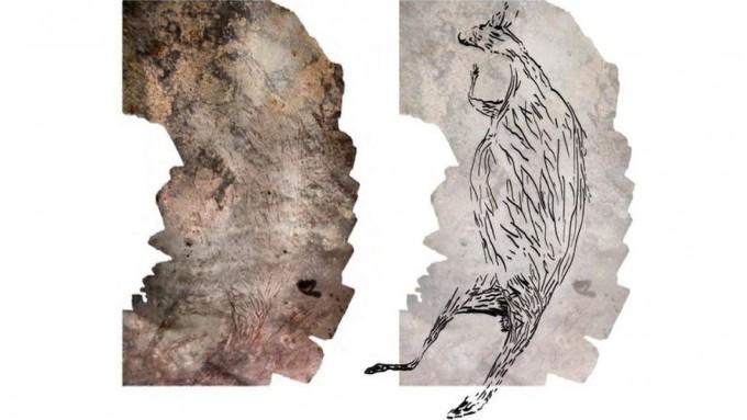 데미언 핀치 호주 멜버른대 지구과학과 연구원팀이 호주 서부 킴벌리에서 1만7300년 된 캥거루 암벽화를 발견했다. 데미언 핀치 제공
