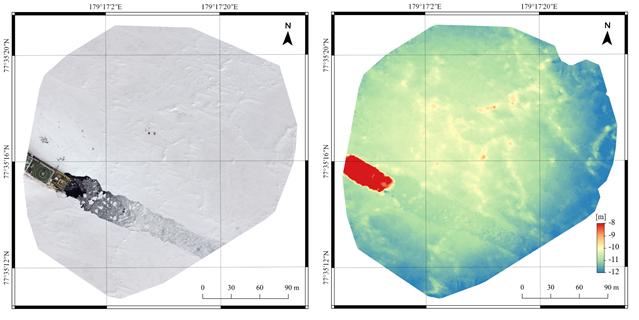 드론 촬영영상을 하나로 모아서 제작한 북극 해빙의 모습 (왼쪽)과 수치표고모델(오른쪽). 수치표고모델에서 적색일수록 높은 고도, 푸른색일수록 낮은 고도를 나타낸다. 극지연구소 제공