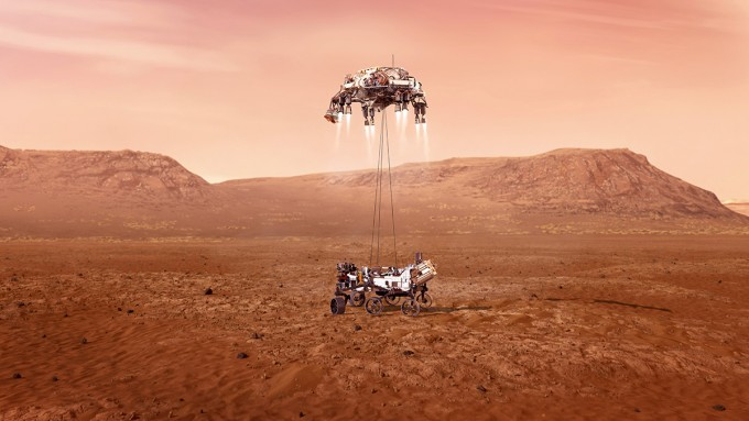 미국항공우주국(NASA)은 한국시간으로 19일 오전 5시 55분 화성 표면에 로버 ′퍼시비어런스′를 내려 놓는 터치다운을 시작한다. NASA 제공