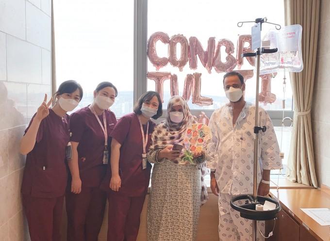 서울성모병원 국제격리병실에서 치료를 받은 아랍에미리트(UAE) 환자. 서울성모병원 제공
