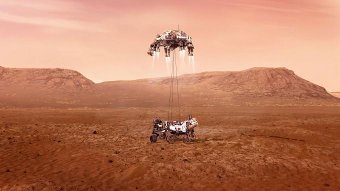 미국항공우주국(NASA)의 화성 로버 퍼시비어런스가 한국 시간으로 19일 오전 5시 55분 화성 표면에 착륙했다. NASA / JPL-Caltech 제공