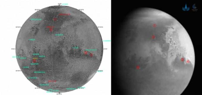 중국국가우주국이 5일 홈페이에 공개한 톈원 1호의 화성 촬영 사진. CNSA 제공