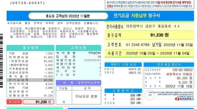 2021년 바뀐 전자요금고지서 샘플. 한국전력공사 제공