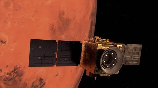아랍에미리트(UAE)의 화성 탐사선 아말이 한국시간으로 10일 오전 12시 57분 화성 궤도에 진입하는 데 성공했다. 사진은성 궤도 진입 상상도.