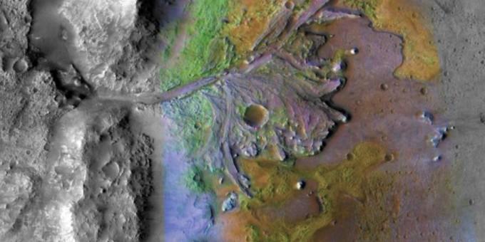 퍼시비어런스가 착륙할 화성의 예제로 크레이터 (Jezero Crater). NASA 제공