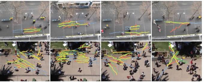 파란색은 입력 영상을, 녹색은 지상 현실인 ′그라운드 트루스′를 나타낸다. 노란색은 연구진이 제안한 방법으로 산출된 보행자 경로 예측 결과다. GIST 제공.