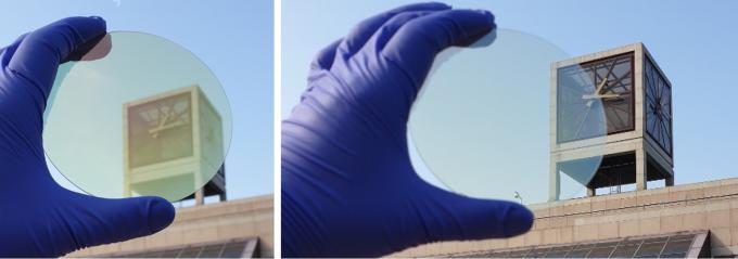 노준석 포스텍 교수팀이 가시광선 투과율이 높은 투명 실리콘을 개발하는 데 성공했다. 두께 48nm인 기존 실리콘(왼쪽)보다 연구팀이 개발한 고굴절 투명 비정질 실리콘(오른쪽)은 같은 두께에서 훨씬 투명하고 선명하게 보인다.  두께포스텍 제공