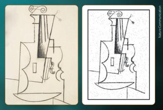 미국 브라운대 연구팀이 개발한 화학분자 저장장치로 저장한 이미지(왼쪽)를 불러오는 데 성공했다. 여기에 사용된 이미지는 피카소의 작품 '바이올린'이다.  네이처 커뮤니케이션 제공