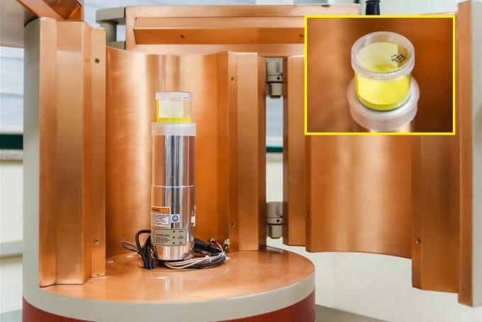 해수에서 세슘137의 농도를분석하기 위해서는 전처리 과정을 거쳐 분말 형태로 만들어야 한다. 분말로 만들고 나면 노란색을 띤다. 한국원자력안전기술원(KINS) 제공