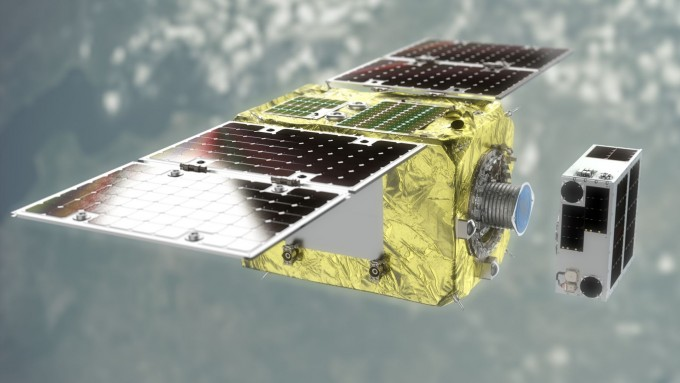 22일 한국의 차세대중형위성과 함께 우주로 발사된 민간 최초의 우주쓰레기 청소 위성. 일본·영국·싱가포르 다국적 우주 벤처인 아스트로스케일이 개발했다. 청소부 노릇을 할 추적 위성(왼쪽)과 우주쓰레기 역할을 할 표적 위성으로 이뤄졌다. 아스트로스케일 제공