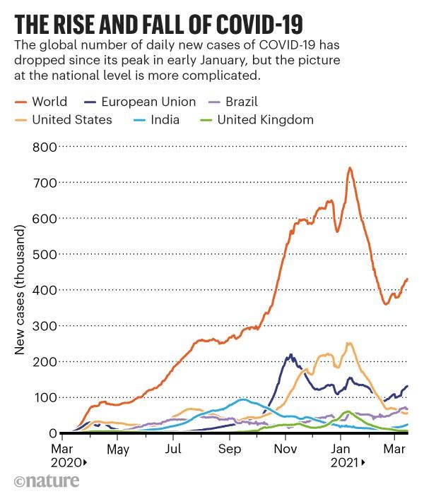 전세계와 주요국 코로나19 확진자 발생 추이. 네이처 제공.