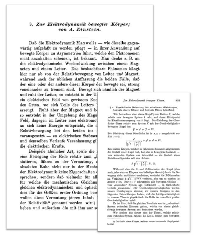 1905년 아인슈타인의 특수상대성 이론 논문