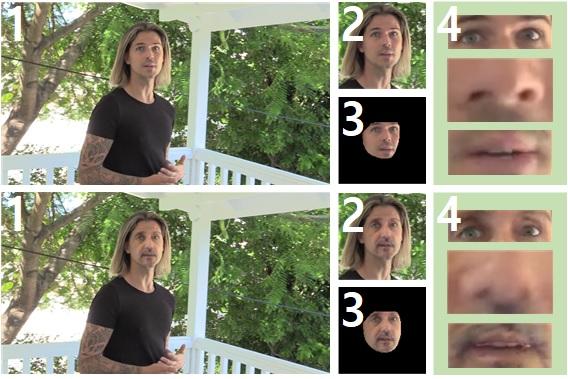 위 사진이 원본 영상, 아래 사진이 딥페이크 영상이다. 카이캐치는 얼굴 추출 과정을 거쳐 딥페이크를 탐지하는데 얼굴 부위만 추출해 얼굴 주위 미세신호 흔적을 분석(2)하는 기술과 얼굴 이외 부위를 삭제하고 얼굴 내부 미세신호 흔적을 분석(3)하는 기술, 눈코입과 얼굴 윤곽의 기하학적 오차 흔적을 분석(4)하는 기술이 쓰인다. KAIST 제공