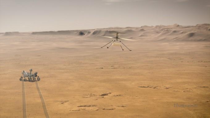 미국항공우주국(NASA)의 화성탐사 로버 ′퍼시비어런스′와 헬리콥터 ′인지뉴이티′의 모습을 담은 상상도다. NASA 제공