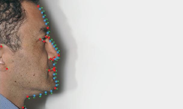 눈썹, 코, 입술 등의 모양은 옆모습을 결정짓는다. 국제 공동연구팀은 라틴아메리카 5개 국가 6000여 명의 옆모습에서 주요 특징(빨간색) 19가지와 보조 특징(파란색) 22가지를 추려냈다. 사이언스 어드밴시스 제공