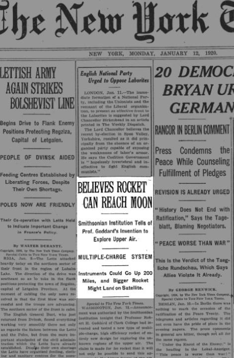 미국 '뉴욕타임스'는 아폴로 11호(오른쪽)가 성공적으로 발사된 다음 날인 1969년 7월 17일, 49년 전 로버트 고더드를 폄하한 사설(맨 위)에 대해 정정기사와 함께 사과문을 발표했다