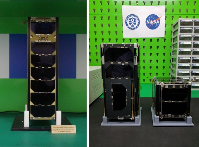 조선대와 연세대 연합팀의 큐브위성 ′KMSL′(왼쪽)과 연세대 연구팀의 큐브위성 ′티몬′(작은 위성)과 ′품바′의 모습. 과학기술정보통신부 제공