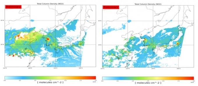 2021년 2월 9일(평일) 오전 11시 위성으로 관측한 한반도 대기 중 이산화질소 농도로, 차량운행이 많은 서울과 대규모 공단 밀집 지역인 울산, 여수 등에서 높은 이산화질소 값이 관측된다(왼쪽). 2021년 2월 13일(주말) 오전 11시, 위성으로 관측한 한반도 대기 중 이산화질소 농도로, 수도권의 경우 차량운행 감소 등으로 평일 대비 약 30% 이상의 감소가 관측됐다. 과기정통부 제공.