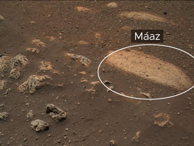 퍼시비어런스가 레이저를 발사한 화성의 암석 ′마즈′다. NASA 제공
