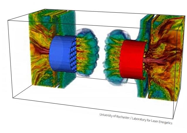 난류 플라스마 환경에서 두 자기장 씨앗이 만나 증폭되는 과정을 시뮬레이션한 모습. 고출력 레이저로 실제 우주와 유사한 플라스마 환경을 구현했다. 로체스터대 제공