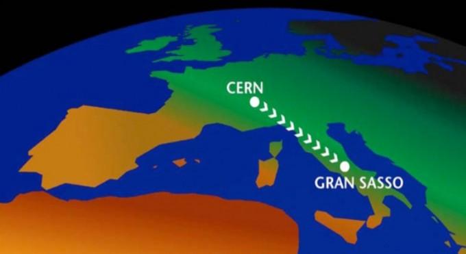 국제 중성미자 실험그룹인 오페라(OPERA)의 중성미자 속력측정 실험 개념도. 스위스 세른(CERN)에서 생성된 뮤온 중성미자 빔이 730킬로미터 떨어진 이탈리아 그란사소 지하실험실에서 검출된다. 오페라 제공