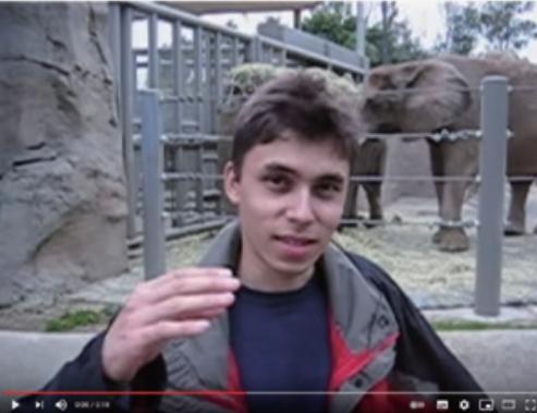 """2005년 4월 23일 업로드된 첫 유튜브 영상. 한 남자가 """"우리는 지금 코끼리 앞에 서 있어요. 얘네가 정말 멋진 건 엄청 길고 긴 코를 가지고 있기 때문이죠. 그리고 그게 거의 전부예요.""""라고 말하는 내용이다. 유투브 캡쳐"""